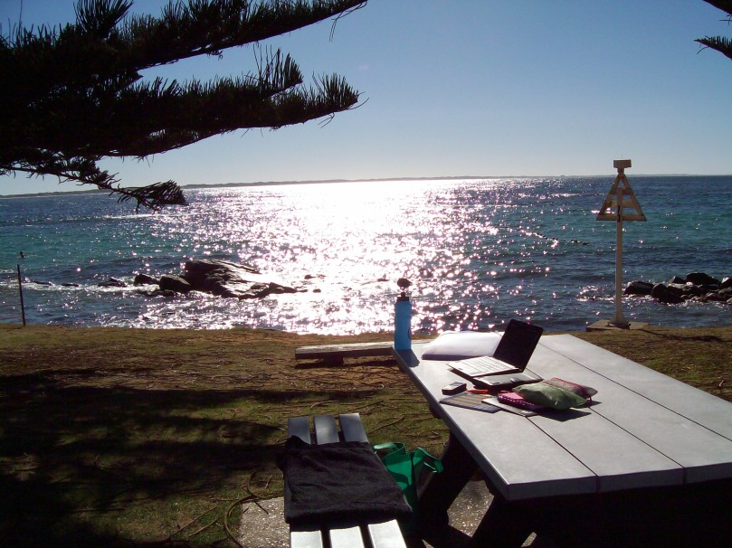 Picnic bench at The Whaling, Flinders Bay set up as a writing desk