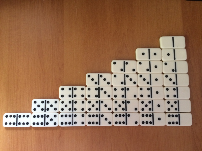 Dominos in step sequence from double six to double blank