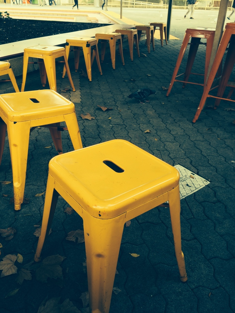 Stools and a pigeon at the PCC