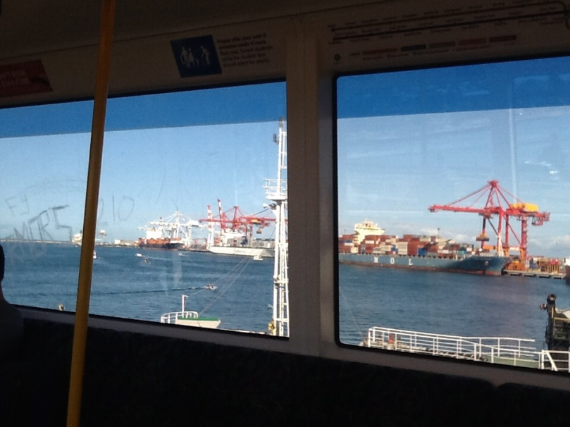 Fremantle Port from train