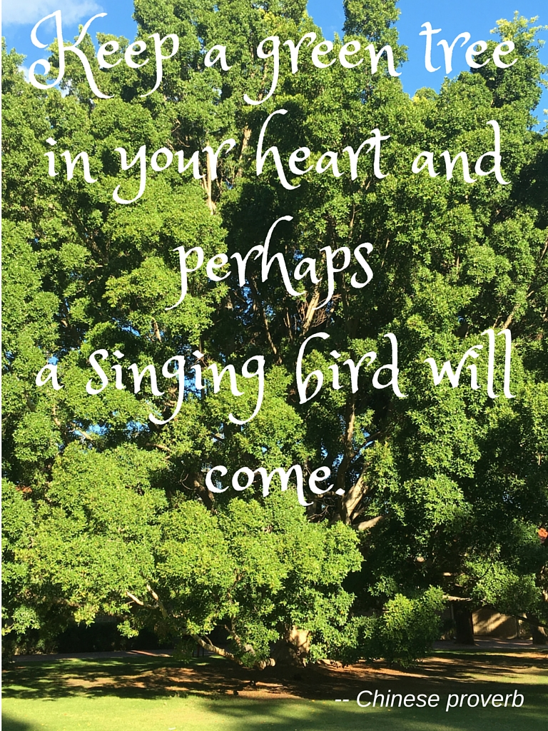 Keep a green tree in your heart and perhaps a singing bird will come